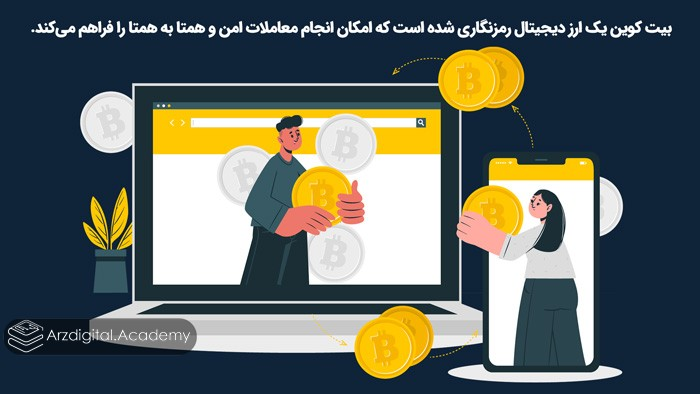 بیت کوین یک ارز دیجیتال رمزنگاری شده است که امکان انجام معاملات امن و همتا به همتا را فراهم میکند.